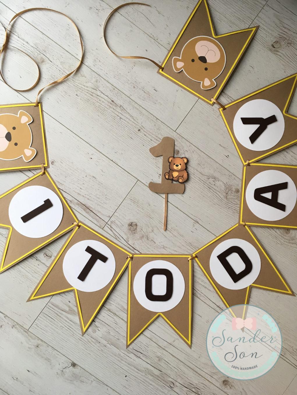"""Girlanda na roczek z literkami tworzącymi napis """"1 TODAY"""""""