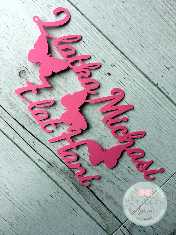 cake topper z napisem 2 latka michasi 7 lat hani oraz motylami w kolorze różowym
